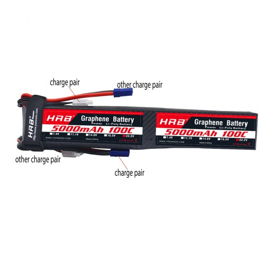 HRB Graphene 12S 5000 44.4V 100C Lipo Battery EC5