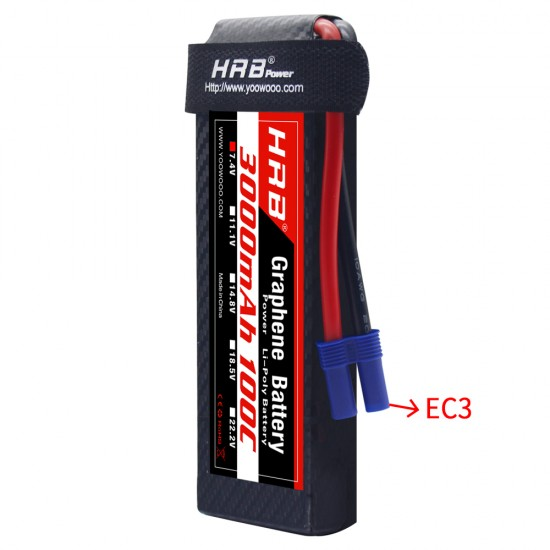 HRB Graphene 2S 3000 7.4V 100C Lipo Battery EC3