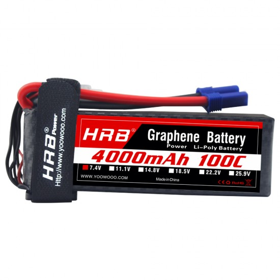 HRB Graphene 2S 4000 7.4V 100C Lipo Battery EC3