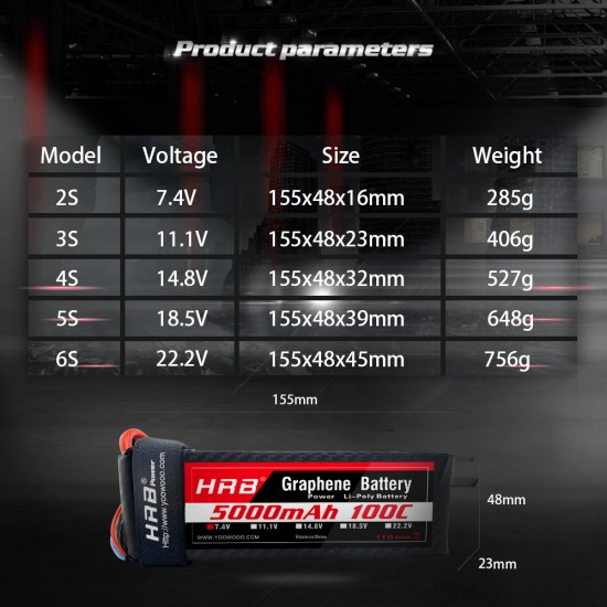 HRB Graphene 2S 5000 7.4V 100C  Lipo Battery EC3