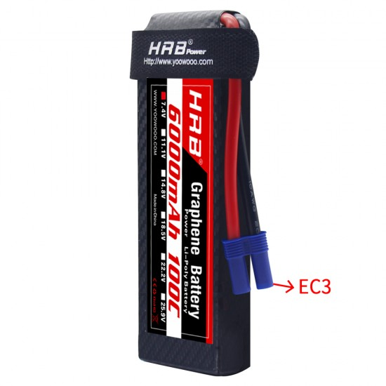 HRB Graphene 2S 6000 7.4V 100C Lipo Battery EC3