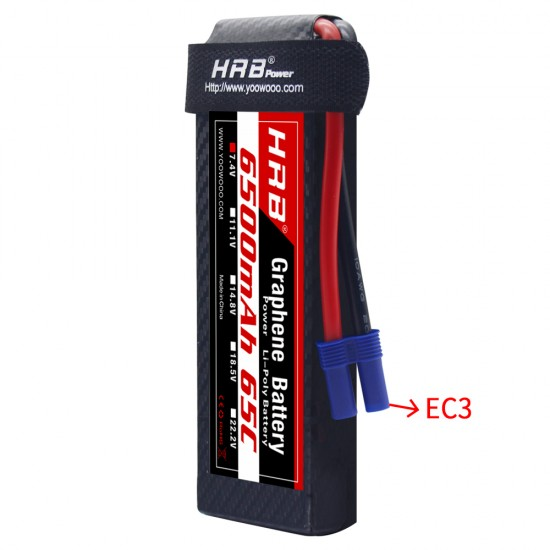 HRB Graphene 2S 6500 7.4V 65C Lipo Battery EC3