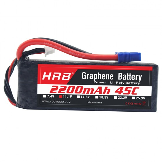 HRB Graphene 3S 2200 11.1V 45C Lipo Battery EC3