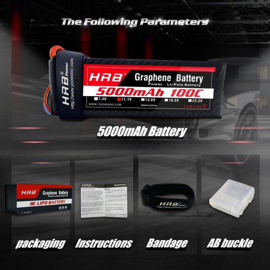 HRB Graphene 3S 5000 11.1V 100C Lipo Battery EC5