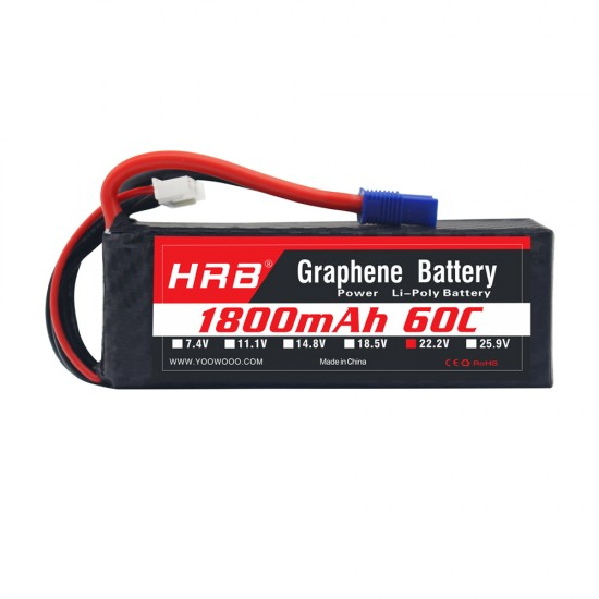 HRB Graphene 6S 1800 22.2V 60C Lipo Battery EC3