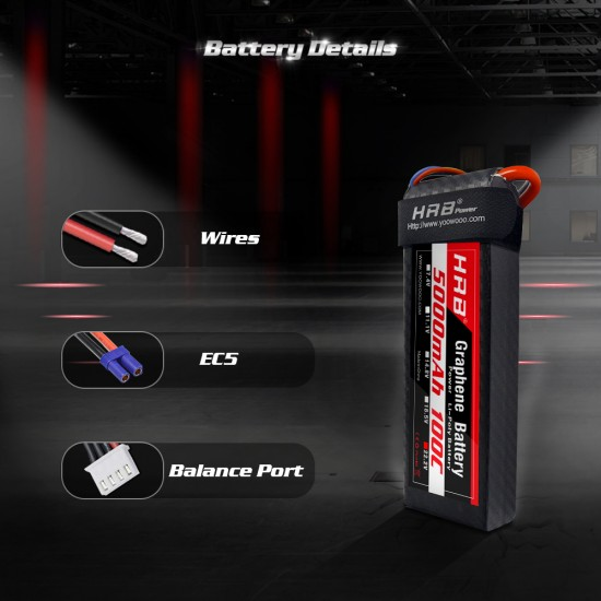 HRB Graphene 6S 5000 22.2V 100C Lipo Battery EC5