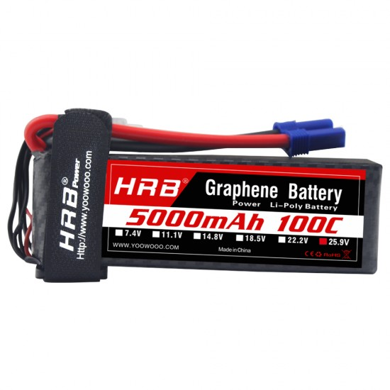 HRB Graphene 7S 5000 25.9V 100C Lipo Battery EC5